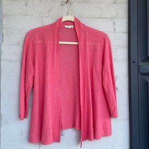 Eileen Fisher rosy coral linen open cardig…
